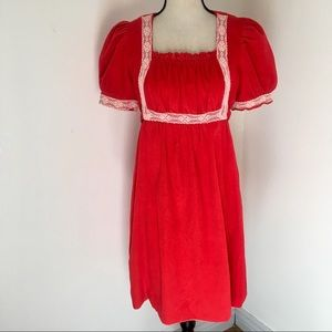 Vintage 1970s Red Orange Terrycloth Dress